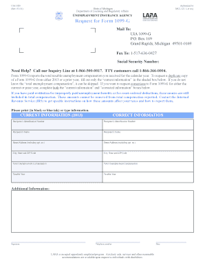 1099 form michigan  Fillable Online mi Request for Form 10-G Mail To: UIA 10 ...