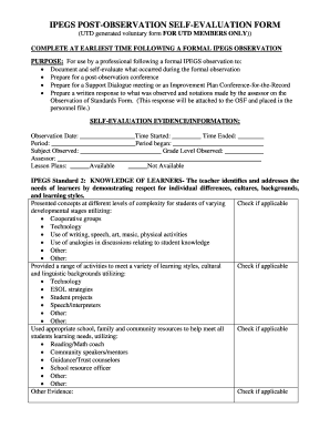 ipegs evaluation observation documentation form