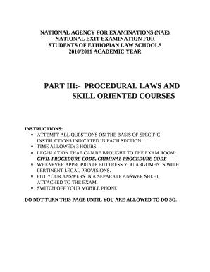 exit exam paper of procedura law ethiopia 2010 form