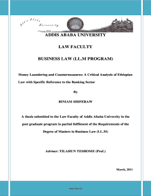Addis Ababa University Law School Thesis - Fill Online