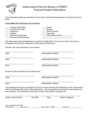 ferpa authorization form  Fillable Online indycc Authorization Form for Release of ...