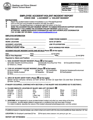 EMPLOYEE ACCIDENT/VIOLENT INCIDENT REPORT FORM 421-1 - hpedsb on