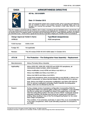 : 2013-0250R1 Date: 31 October 2013 Note: This Airworthiness Directive (AD) is issued by EASA, acting in accordance with Regulation (EC) No 216/2008 on behalf of the European Community, its Member States and of the European third countries