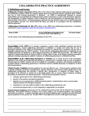 Fillable online generic collaborative practice agreement for Collaboration contract template