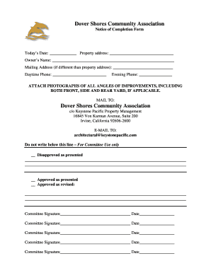 Fillable Online Notice of Completion Form - Dover Shores's ...