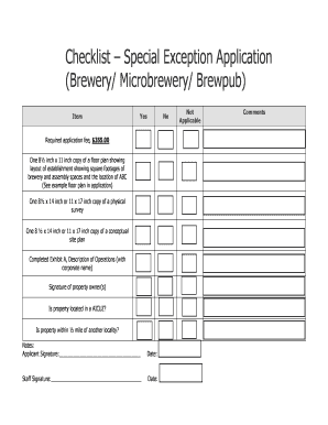 Event Planning Checklist Template. Checklist Special Exception Application  Brewery
