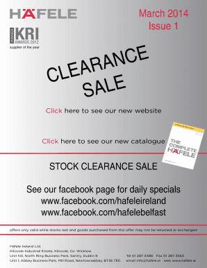 Fillable Online hafele Clearance sale - Hafele - hafele Fax