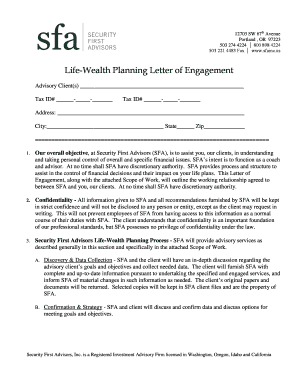 Life-Wealth Planning Letter of Engagement - Security First Advisors