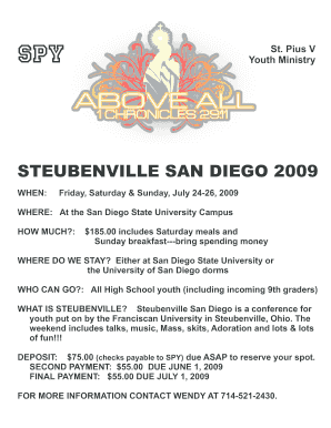 fillable online stpius5 steubenville san diego 2009 st pius v catholic community stpius5 fax email print pdffiller pdffiller
