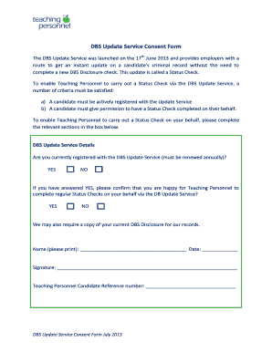 Fillable Online Dbs Update Service Consent Form Teaching Personnel Limited Fax Email Print Pdffiller
