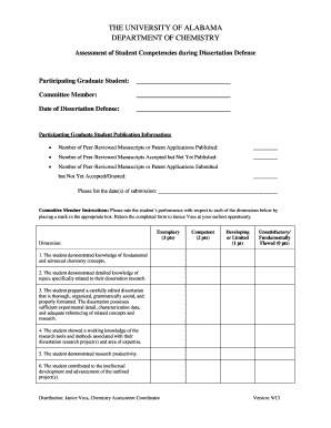 Dissertation Defense Assessment Form - Department of Chemistry - chemistry ua