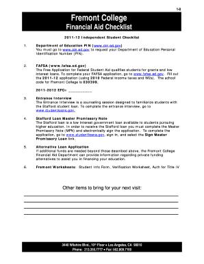 201112 Independent Student Checklist