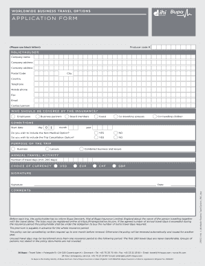 WorldWide Business Travel OpTions APPLiCATiON FOrM