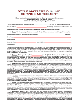 STYLE MATTERS DJs INC SERVICE AGREEMENT