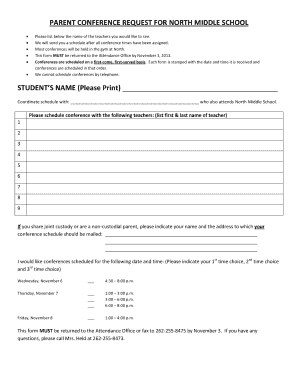 parents conference forms
