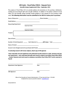 Gift Cards Fiscal Policy FI0313 Request Form - budget utk