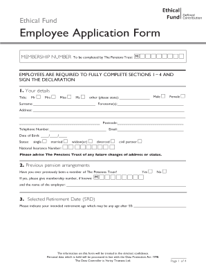 fillable online tpt org ethical fund employee application form the