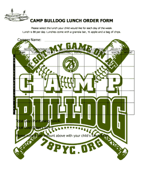 Fillable Online 78pyc CAMP BULLDOG LUNCH ORDER FORM