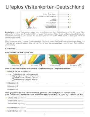 Lifeplus Visitenkarten Fill Online Printable Fillable