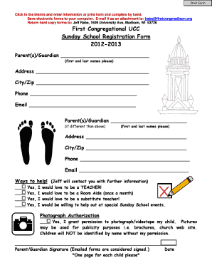 graphic relating to Printable Church Nursery Forms identified as 132 Printable Sunday Higher education Registration Type Templates