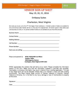 fillable online vendor sign up sheet west virginia state council