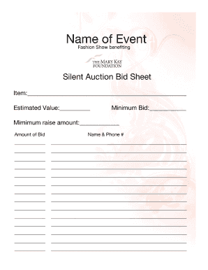 how to do a silent auction bid sheet