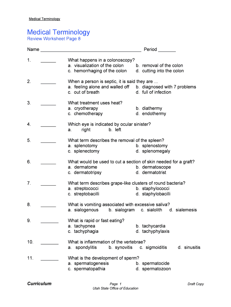 graphic relating to Printable Medical Terminology Worksheets called Evaluation8.document Fill On the web, Printable, Fillable, Blank