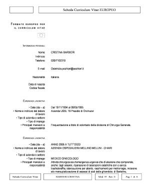 Fillable Online Aochiari Scheda Curriculum Vitae Europeo Aochiari