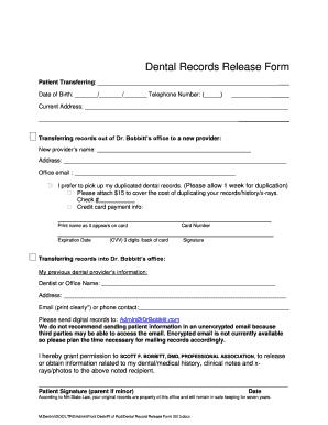 BDental Recordsb Release BFormb · BDental Recordsb Release BFormb Dental  Records Release Form ...