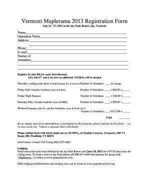 Fillable Online vermontmaple Maplerama Registration Form - Vermont ...