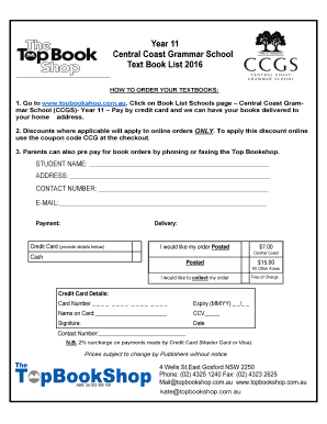 Year 11 Central Coast Grammar School Text Book List 2016 HOW TO ORDER YOUR TEXTBOOKS: 1 - ccgs nsw edu