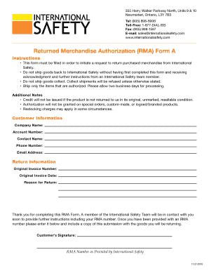 Editable return merchandise authorization amazon - Fill Out