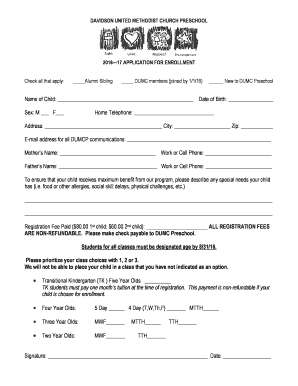 Lottery Form 2015-16 Not currently enrolled - davidsonumc