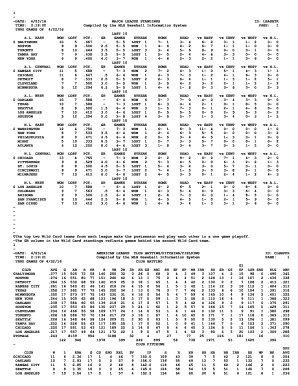 major league baseball standings to Download in Word & PDF