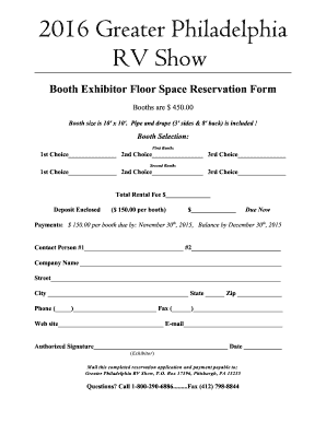Fillable Online Booth Reservation Form Greater Philadelphia Rv Show Fax Email Print Pdffiller
