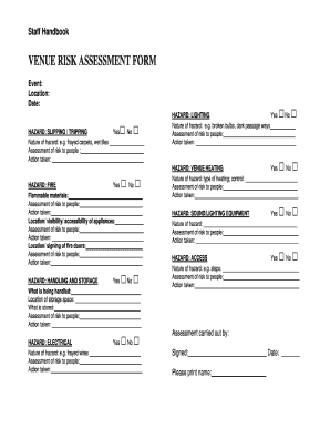 VENUE RISK ASSESSMENT FORM - Care for the Family