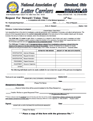 Request For Steward Union Time 14th Day - NALC Branch 40