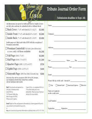 Tribute Journal Order Form - bGreenb bHillb Inc
