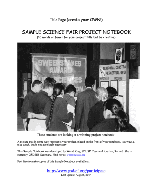 SAMPLE SCIENCE FAIR PROJECT NOTEBOOK