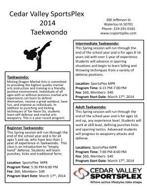 Fillable Online cvsportsplex Cedar Valley Sports Plex 2014 Taekwondo