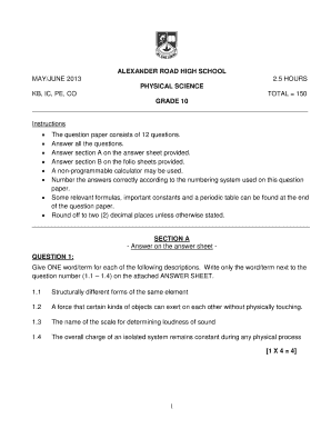 physical sciences june exam paper grade10 2014