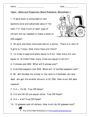 Grade 6 Proportions Worksheets - free