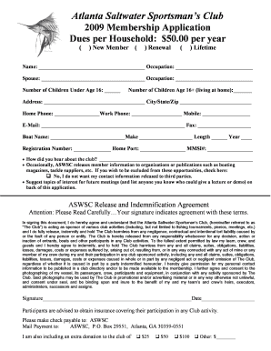 Atlanta Saltwater Sportsmans Club 2009 Membership Application Dues per Household: $50 - aswsc