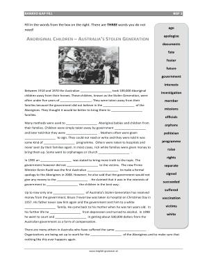 fillable online australias stolen generation banked gap fill pdf worksheet downloadable pdf. Black Bedroom Furniture Sets. Home Design Ideas