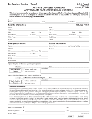 boy scout medical form part a b and c - Edit, Print, Fill