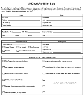 Car Bill Of Sale Doc Forms and Templates - Fillable & Printable ...