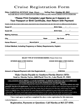 Cruise Registration Form - Southern Florida District Fill