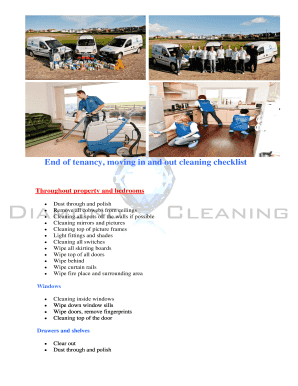 End Of Tenancy Cleaning Checklist Template