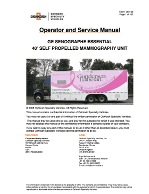 Operator Service Manual GE Senographe Essential Mammography 40 Self-propelled Unit