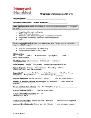 Organizational Essment Template | Fillable Online Organizational Assessment Form Honeywell Life Care